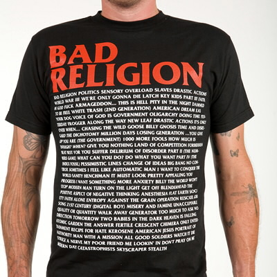 IMAGE | Bad Religion - BR Song List Tee (Updated)