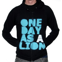 IMAGE | One Day As A Lion - Black Stacked Logo Zip Up American Apparel Hoodie