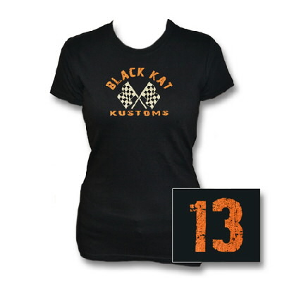 Black Kat Kustoms - Womens Distressed 13 Tee