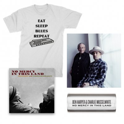 ben-harper-and-charlie-musselwhite - No Mercy In This Land CD + Tee (White) + Glass Guitar Slide + Signed Lithograph Bundle