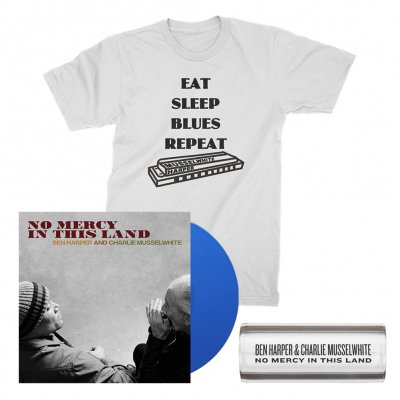 ben-harper-and-charlie-musselwhite - No Mercy In This Land LP (Blue) + Tee (White) + Glass Guitar Slide Bundle