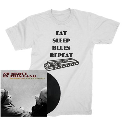Ben Harper And Charlie Musselwhite - No Mercy In This Land LP (180g Black) + Harmonica Tee (White) Bundle