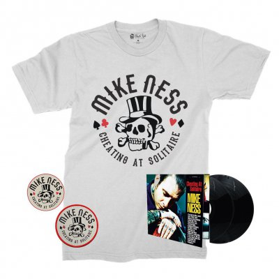 mike-ness - Cheating at Solitaire LP (Black) + Cheating T-Shirt + Enamel Pin + Patch Bundle