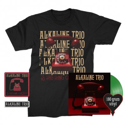 alkaline-trio - Is This Thing Cursed? LP (Green 180g) + Repeater Tee (Black) + Patches (2) Bundle